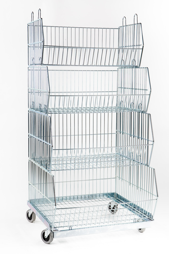 Stacking Baskets, Plinth Zinc Plated