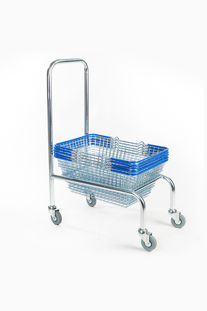 Shopping Basket With Stacker Zinc Plated Various Handle Colours